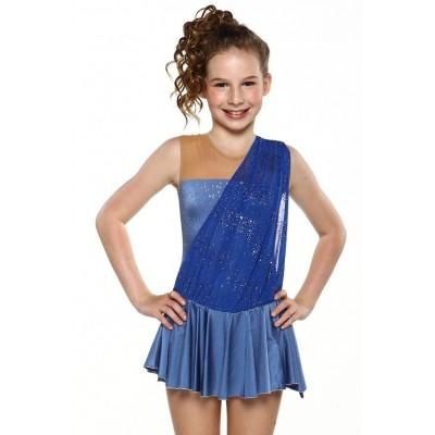 Figure skating dress - blue - rhinestone - sleeveless 4