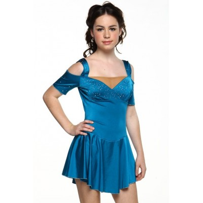 Figure skating dress - blue - rhinestone - short sleeves