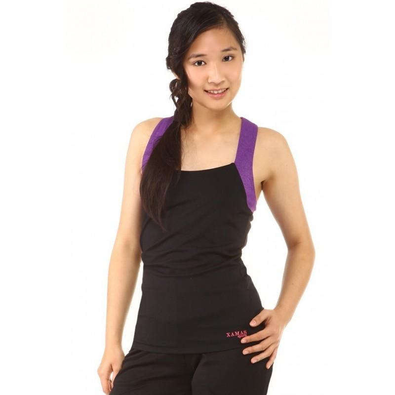 Sports vest - black - purple - racerback