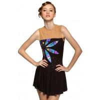 Figure skating dress - black - sleeveless - diamante 7