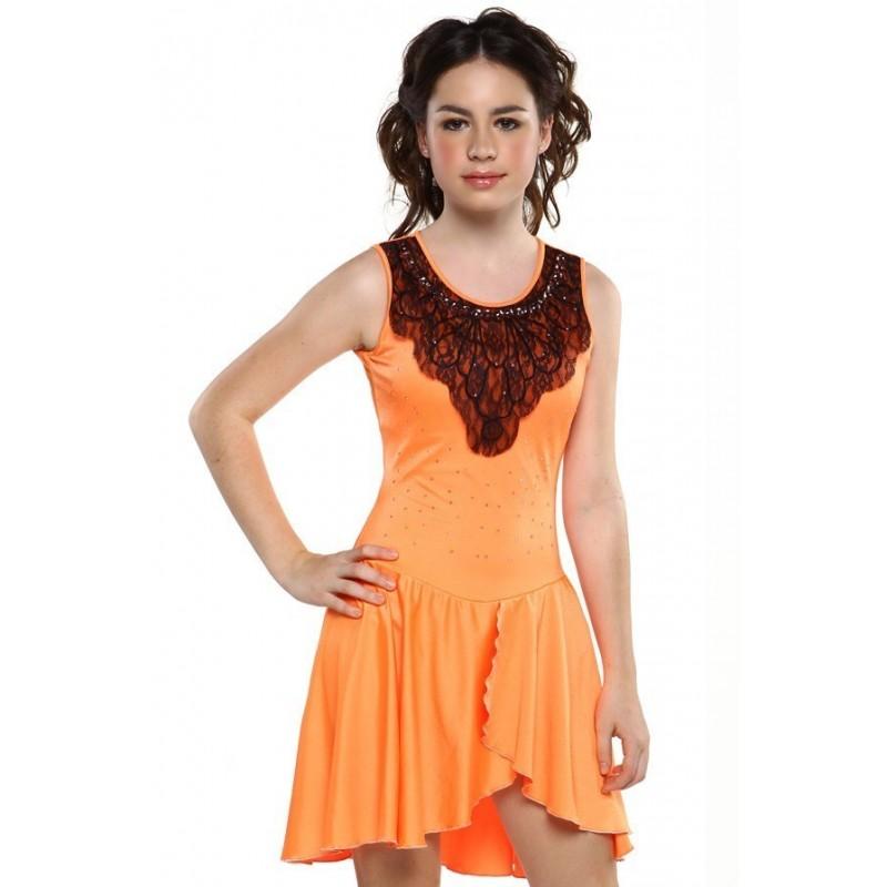 花样滑冰裙,橙色,无袖,水钻