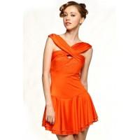 花样滑冰裙,橙色,水钻,无袖