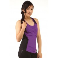 Sports tank top - purple - black panel - racerback