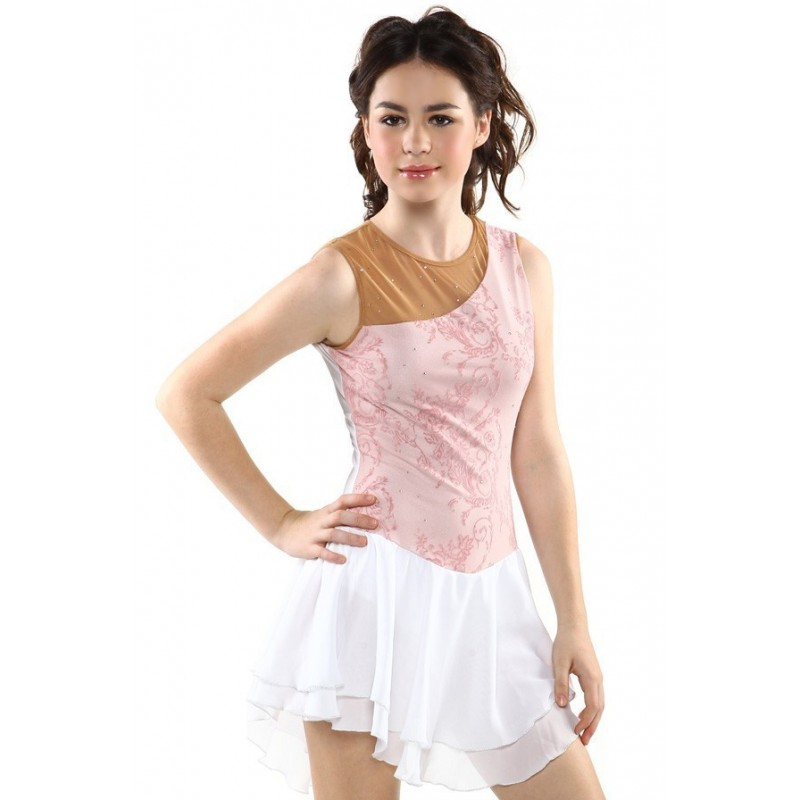 Figure skating dress - pink - sleeveless - diamante 2