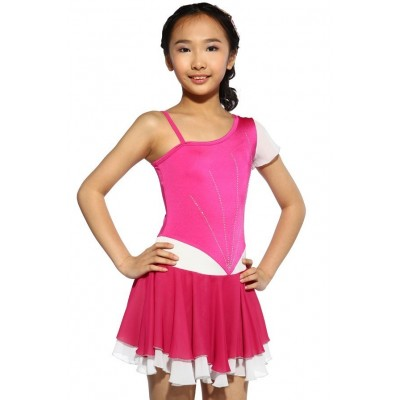 花样滑冰裙,粉红色,混合袖,水钻