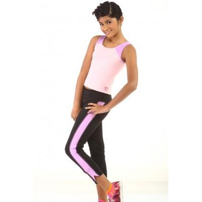 运动长裤,黑色,粉红色面板,脚踝以上