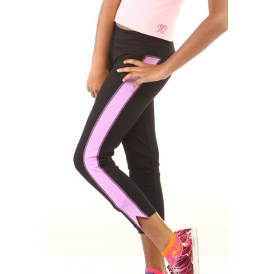 Sports long pants - black - pink panel - above ankle