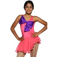 花样滑冰裙,粉红色,水钻,无袖