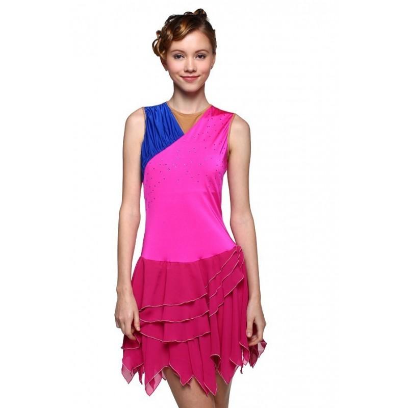 花样滑冰裙,粉红色,无袖,水钻
