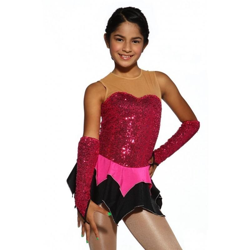 Figure skating dress - red - sleeveless - gloves - sequins
