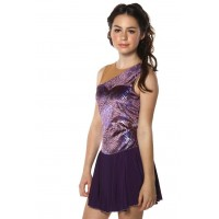 花样滑冰裙,紫色,无袖,水钻