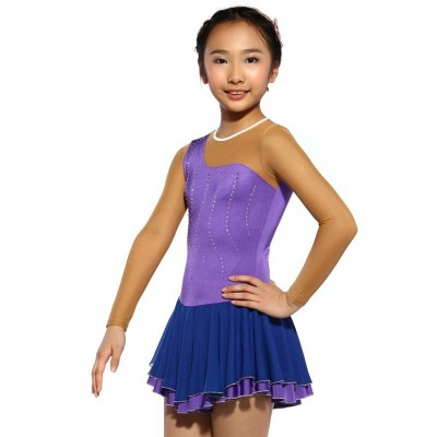 Figure skating dress - purple - sleeveless - diamante 1