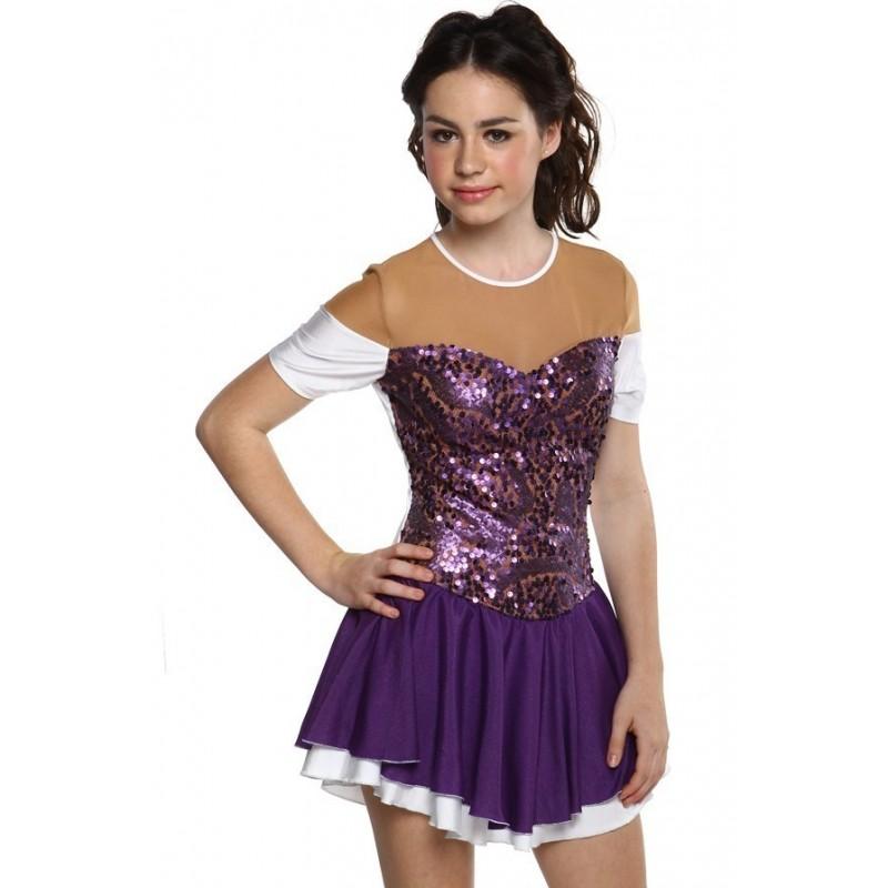花样滑冰裙,紫色,亮片,短袖