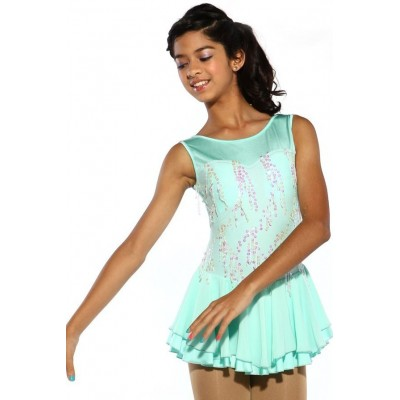 Figure skating dress - blue - sequins - sleeveless 2