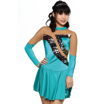 Figure skating dress - long-sleeves - diamante - sequins