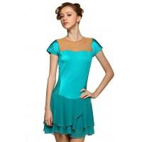 花样滑冰裙,蓝色,短袖,水钻