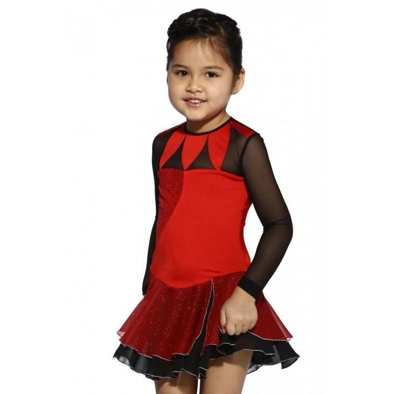 花样滑冰裙 - 黑色无袖水钻绕颈领闪光纱丝绒