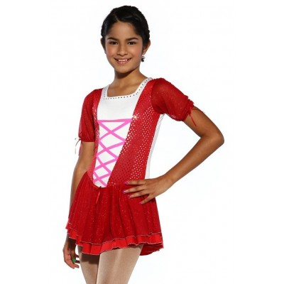 Figure skating dress - red - short-sleeves - diamante 3