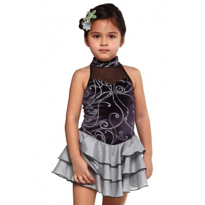 Figure skating dress - black - halter-neck
