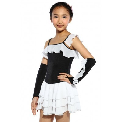 Figure skating dress - black - mixed-sleeves - gloves - Black