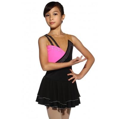 花样滑冰裙,黑色,无袖,水钻 - 黑色