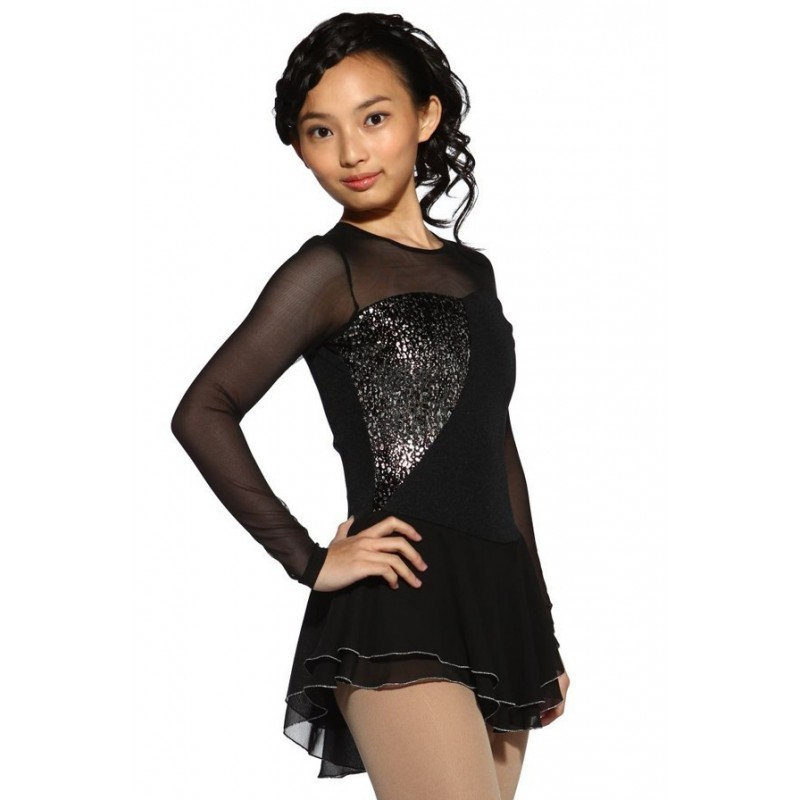 Figure skating dress - black - long-sleeves - sequins 2