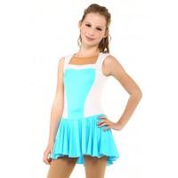花样滑冰裙,蓝色,水钻,无袖