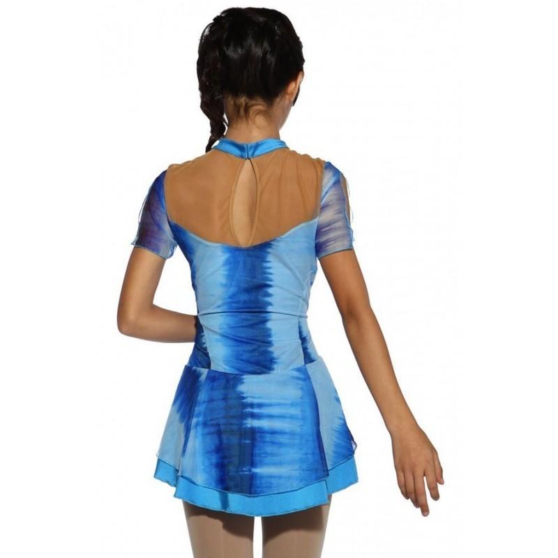 花样滑冰训练裤 - 包鞋 - 超细抓毛绒 - 蓝色漩涡图案水钻