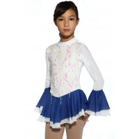Figure skating dress - white - long-sleeves - sequins