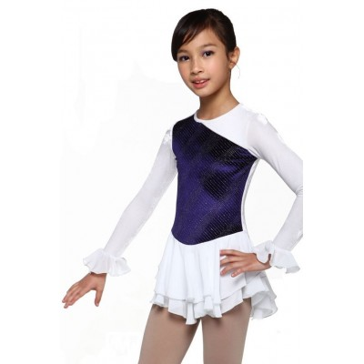 Figure skating dress - white - long-sleeves