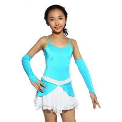 花样滑冰裙,蓝色,无袖,手套,水钻 - 彩蓝