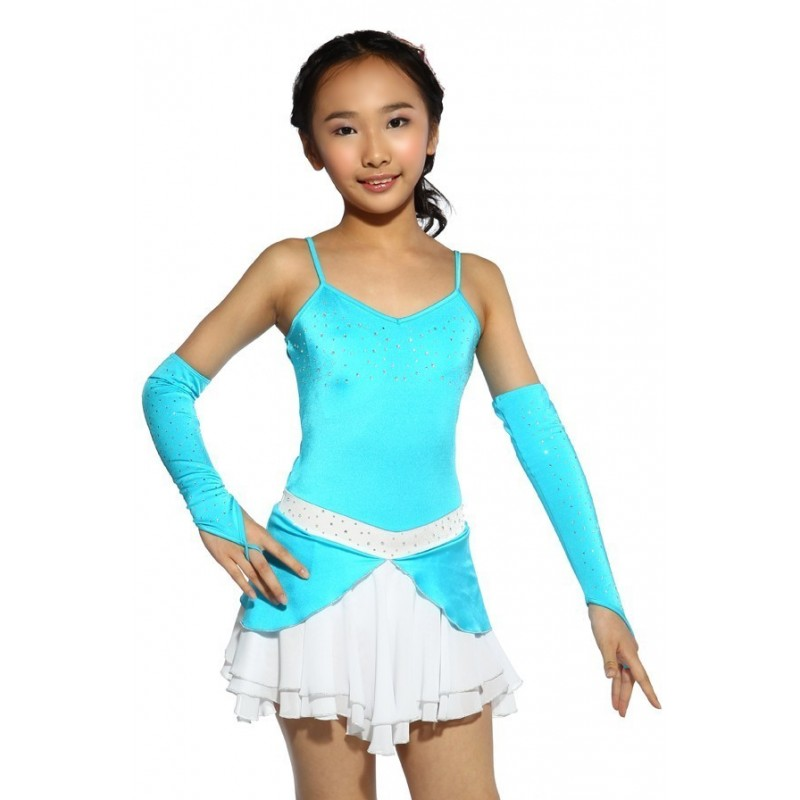 Figure skating dress - blue - sleeveless - gloves - diamante