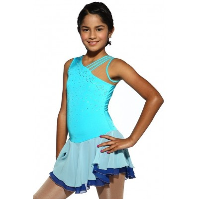 Figure skating dress - blue - sleeveless - diamante 8