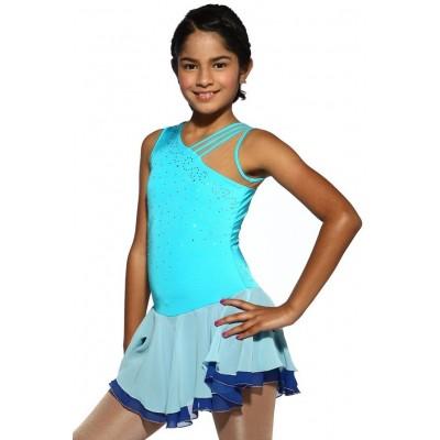 花样滑冰裙,蓝色,无袖,水钻 - 彩蓝