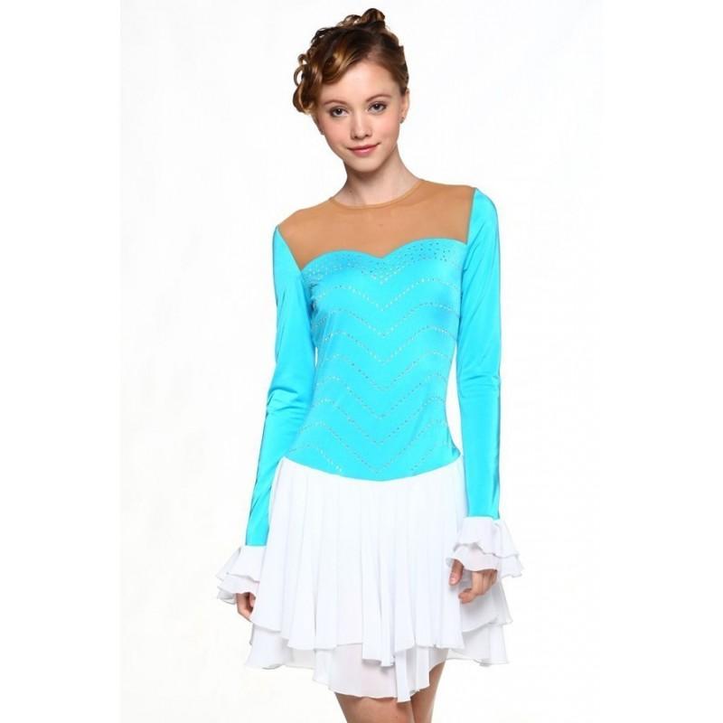 Figure skating dress - blue - long-sleeves - diamante 4