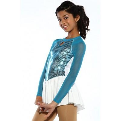 花样滑冰裙,蓝色,长袖,亮片 - 蓝色