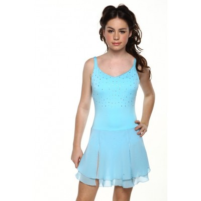 Figure skating dress - blue - sleeveless - diamante 5
