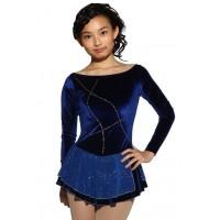 Figure skating dress - blue - rhinestone - long sleeves