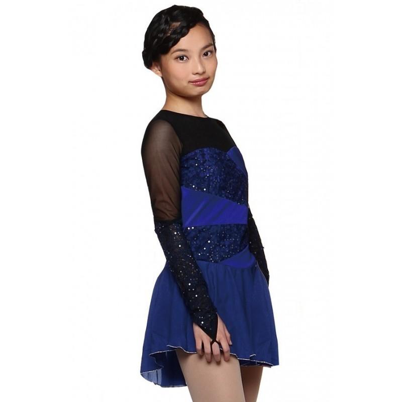 花样滑冰裙,蓝色,长袖