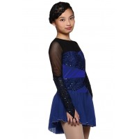 Figure skating dress - blue - long sleeves