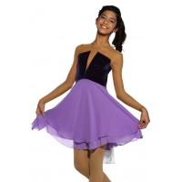 Figure skating dress - purple - diamante
