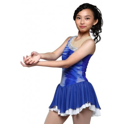 Figure skating dress - blue - sleeveless 2