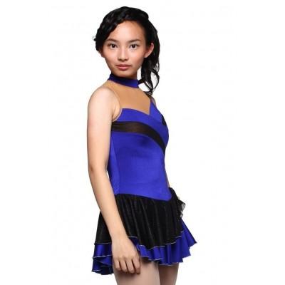 花样滑冰裙,蓝色,无袖