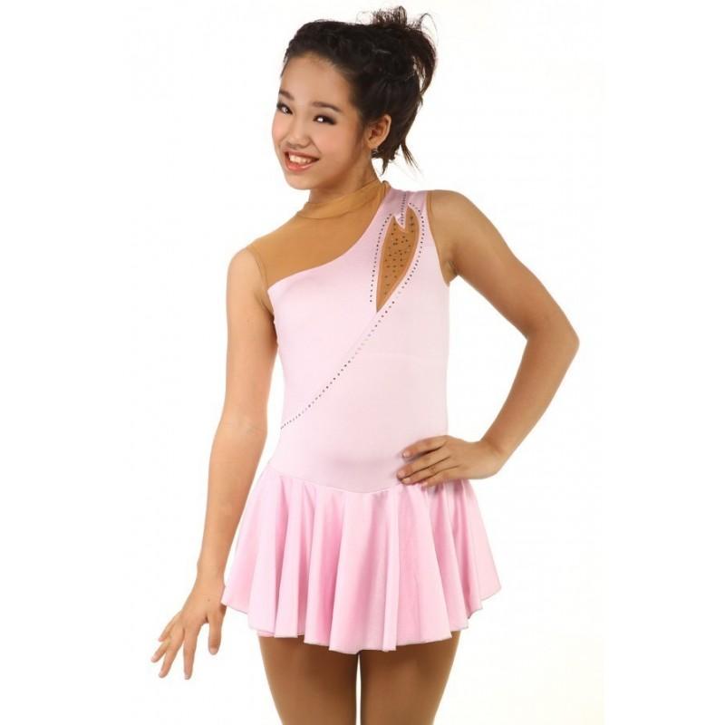 Figure skating dress - pink - one-shoulder - rhinestone