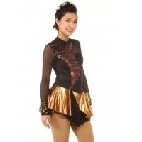 Figure skating dress - black - bronze - sequins - diamante