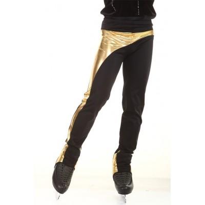 Figure skating pants - black - gold - long 1 - Black