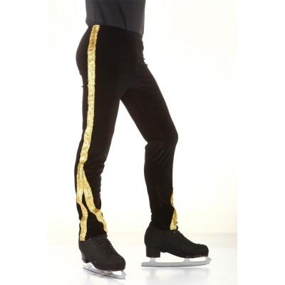 Figure skating pants - black - gold - long - sequins - Black