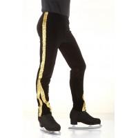 Figure skating pants - black - gold - long - sequins