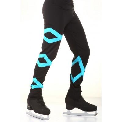 Figure skating pants - black - blue - long - Black