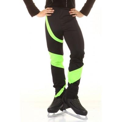 Figure skating pants - black - green - long - Black
